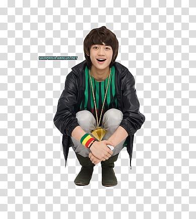 Shinee Minho, man wearing black leather jacket transparent.