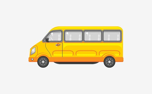 Minibus side view Clipart Image.