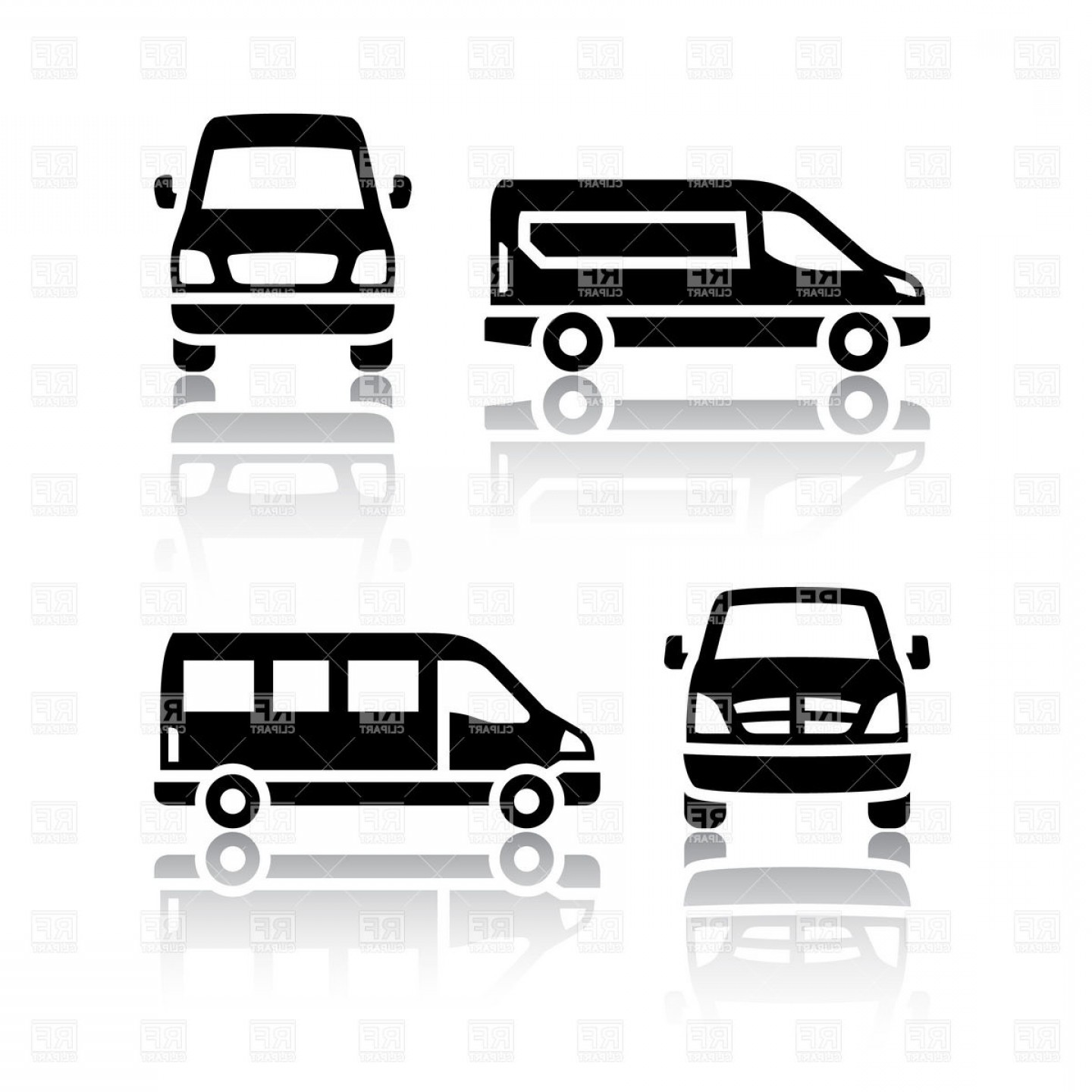 Cargo Or Delivery Van And Minibus Vector Clipart.