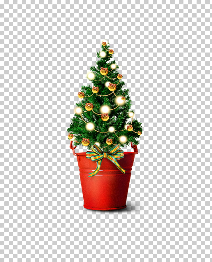 Santa Claus Christmas tree Gift, Mini Christmas tree bucket.