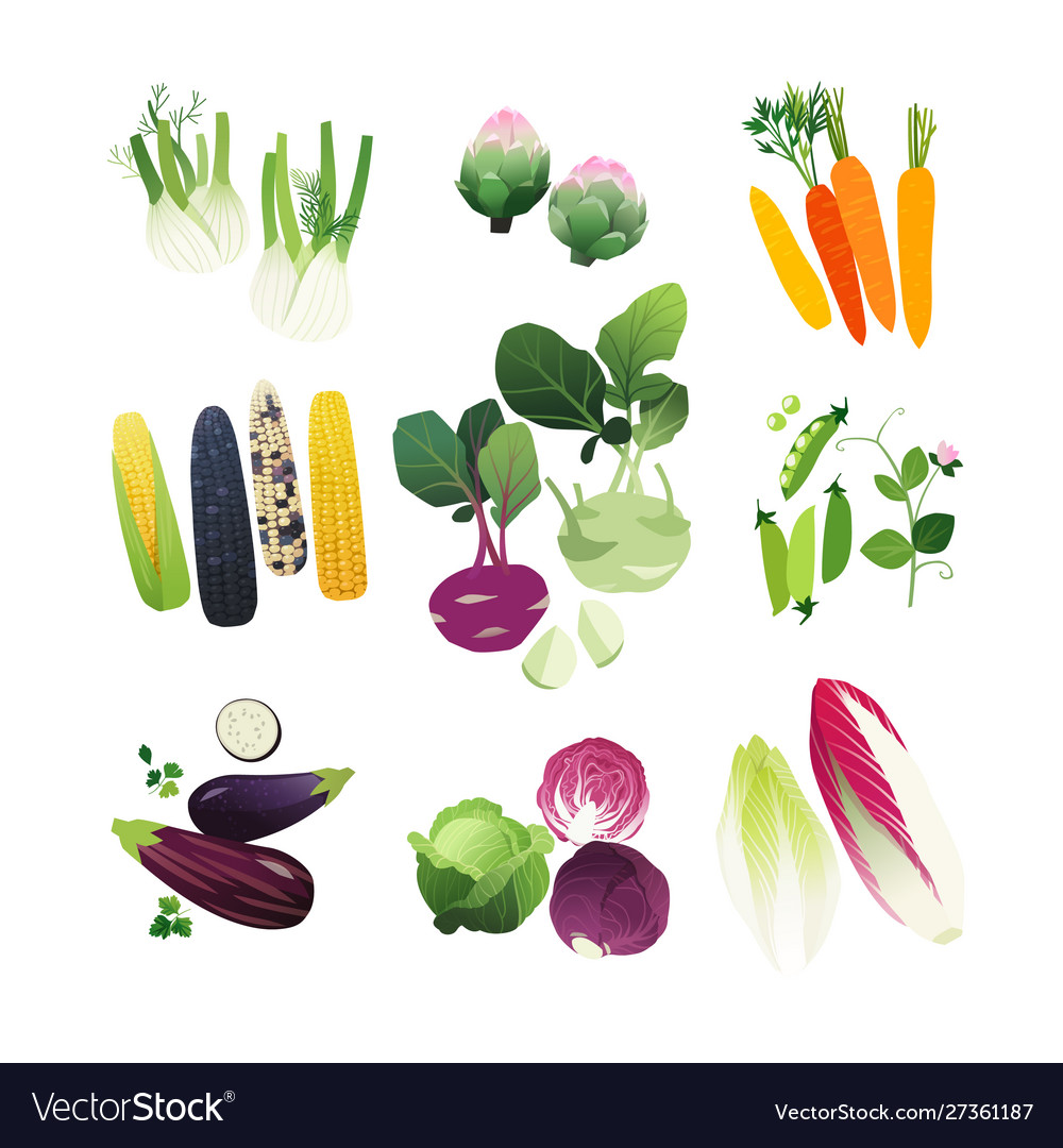 Clipart set mini vegetable icons.