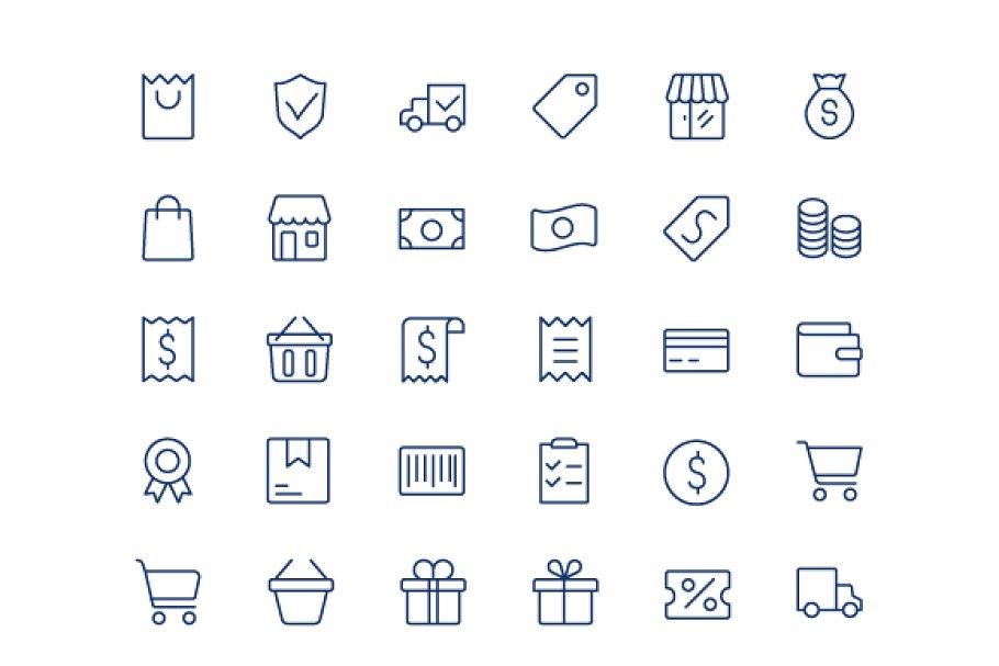 Shopping line mini icons..