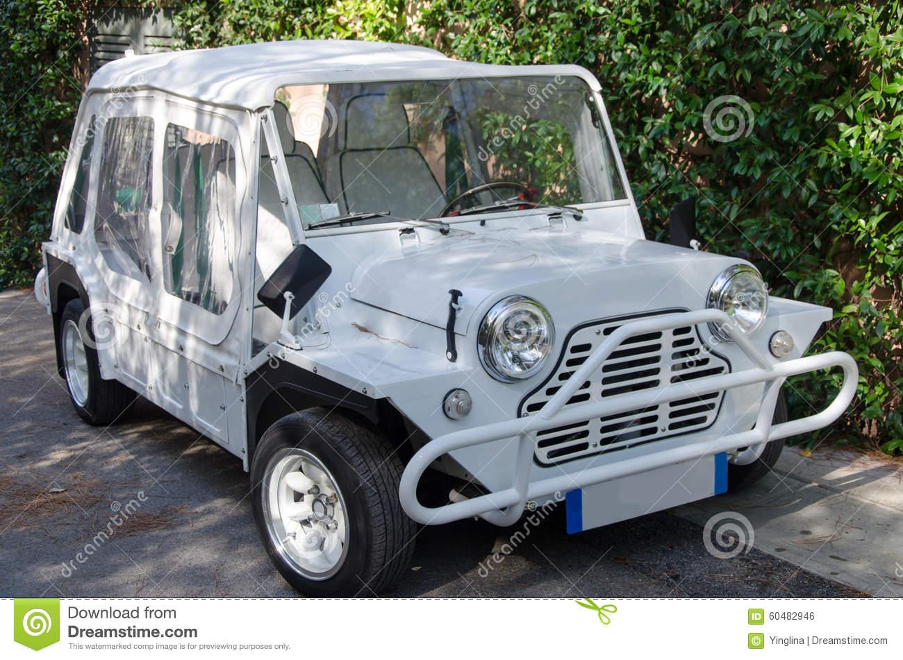 White Austin Mini Moke Stock Photo.