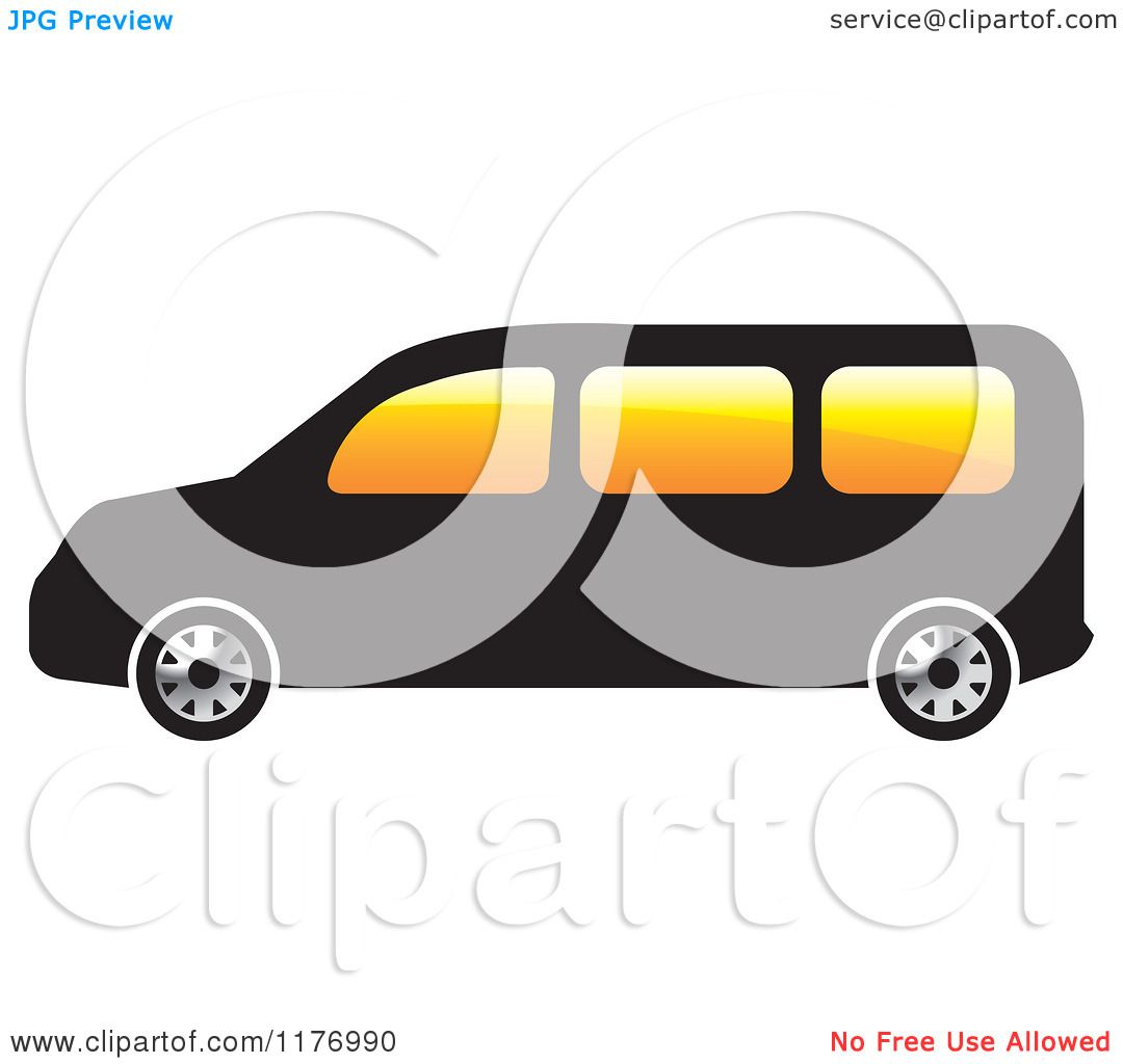 Clipart of a Black Mini Van with Orange Windows.