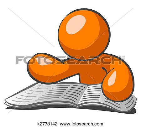 Drawing of Orange Man Browsing Want Ads k2778143.
