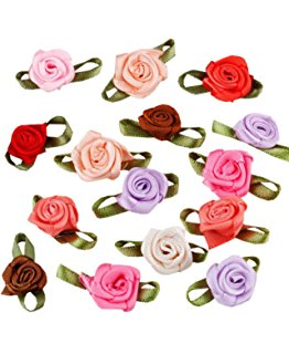 Amazon.com: Satin Mini Roses Flowers Red Gold color ribbon rose.