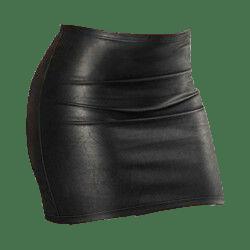 Black leather mini skirt transparent png.