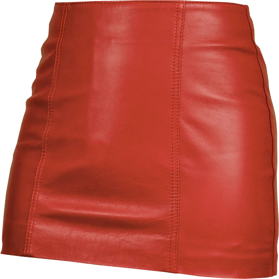 Red leather mini skirt png image.