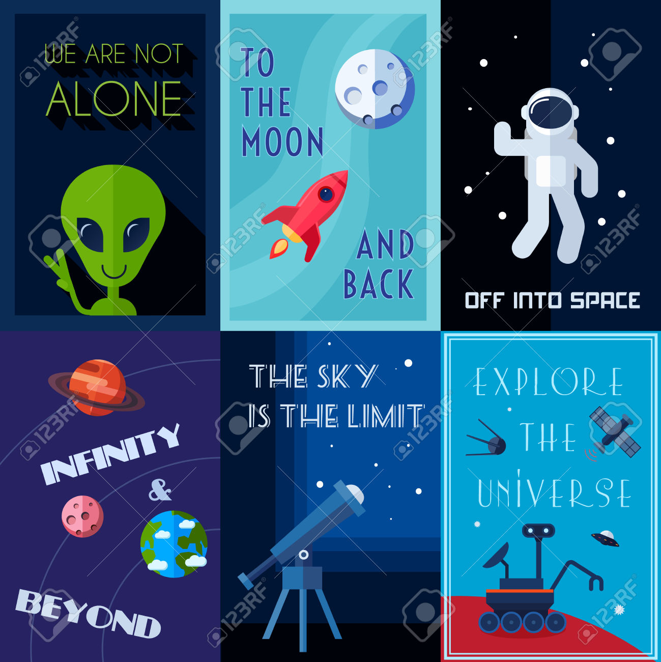 Space Exploration Human Spaceflights Mini Poster Set Isolated.