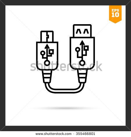 Icon Usb Mini Usb Cable Stock Vector 350607374.
