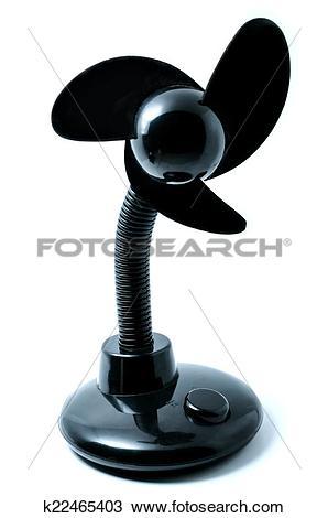 Stock Photo of Portable black mini usb fan isolated on white.
