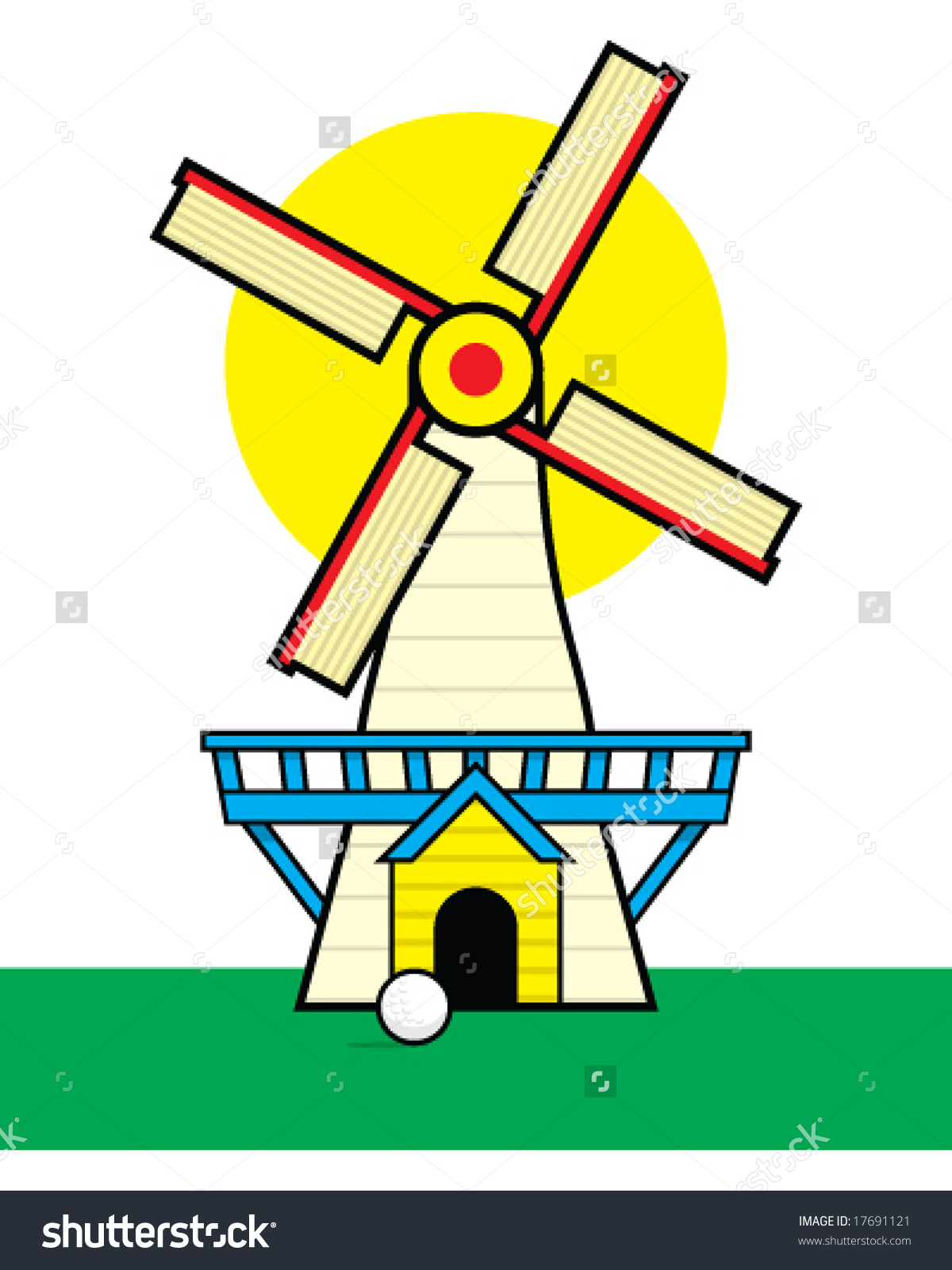 Mini Golf Clip Art. Vector Windmill For Miniature, Mini Golf Free.