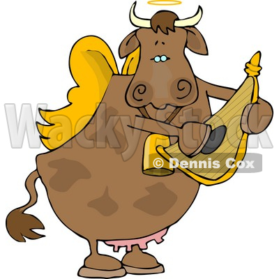 Angel Cow Playing a Small Harp Clipart © Dennis Cox #4533.