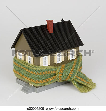 Stock Photograph of Miniature house and scarf e00005209.