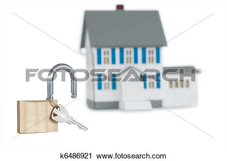 Clipart of Miniature house and opened padlock k6486921.
