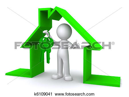 Clipart of Concept image of a character holding a house key inside.