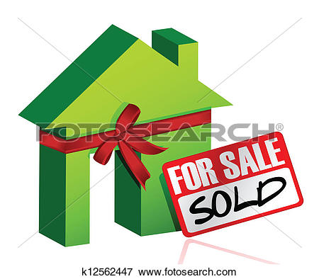 Clip Art of Miniature house with sign of sold or for sale.