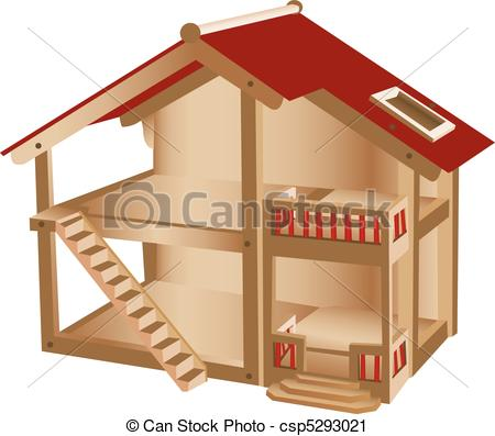 Vector Clip Art of Small playhouse for kids. Wooden miniature.