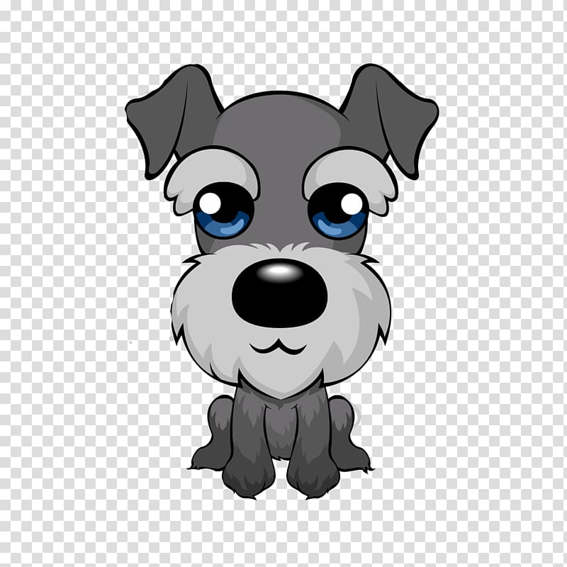 Gray schnauzer illustration, Miniature Schnauzer Puppy.
