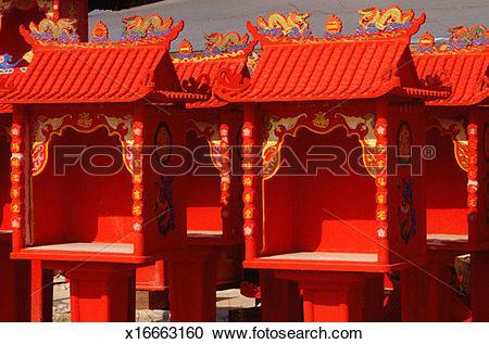 Stock Photography of Miniature temples, Kuala Lumpur, Malaysia.
