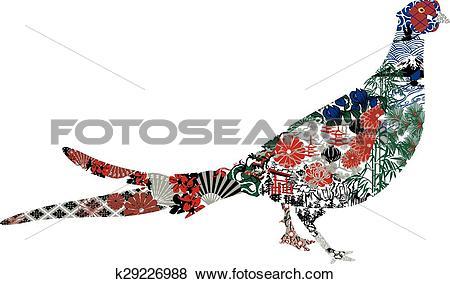 Clip Art of Green Pheasant Japanese miniatures k29226988.