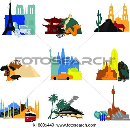 Clip Art of miniatures different countries k18805449.