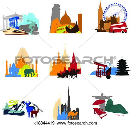 Clip Art of miniatures different countries k18844419.