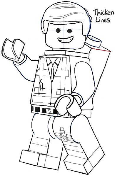 Lego character clipart black and white.