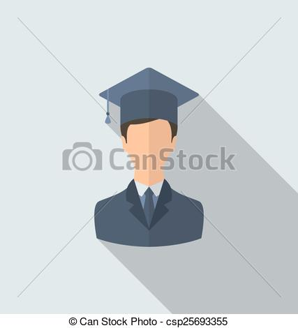 Clipart Vector of Flat icon of male graduate in graduation hat.