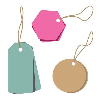 Minimalist Abstract Price Tags, Vector.