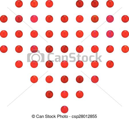 Clipart Vector of heart of candy or red pearl rams, minimalist.