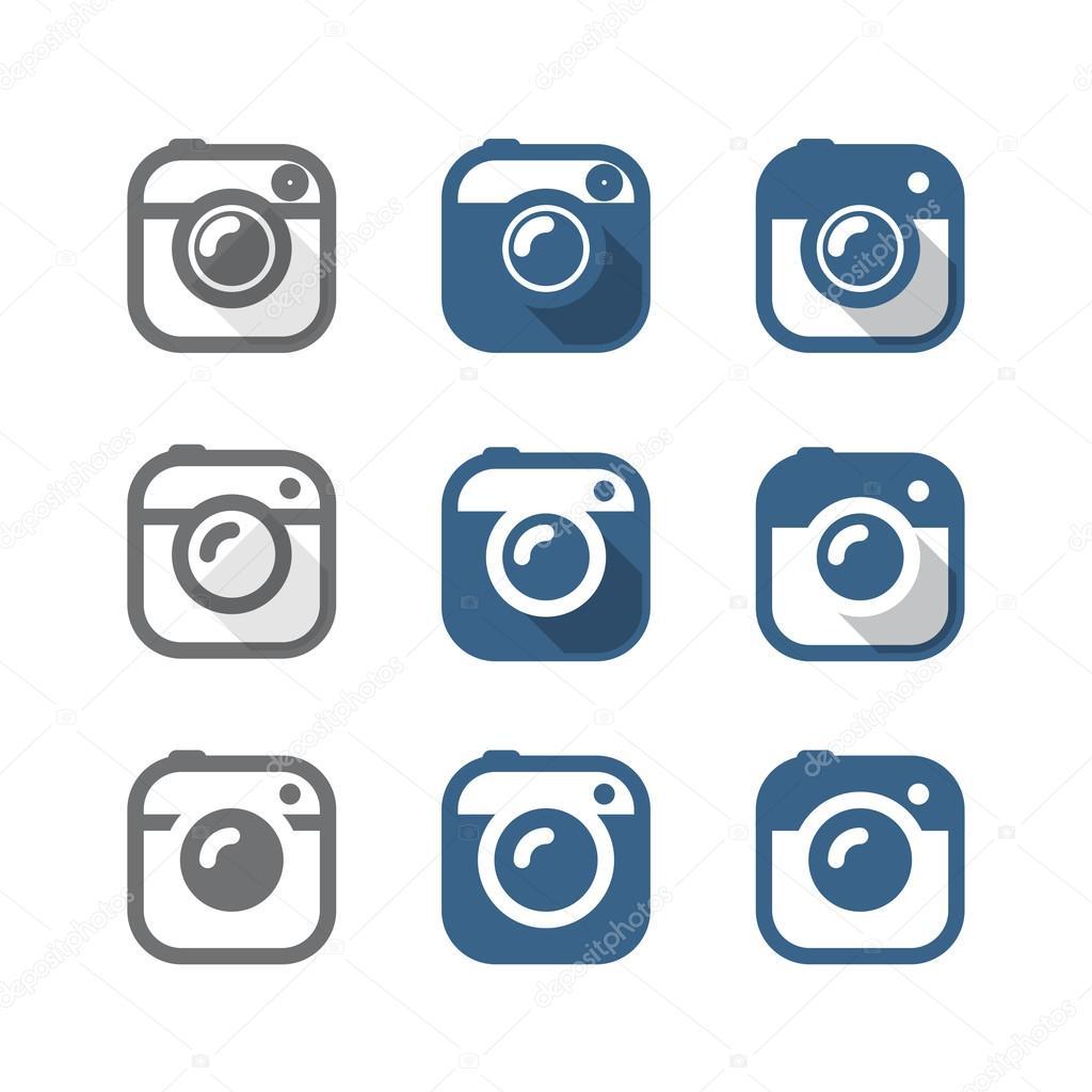 Vintage photo camera icons clipart. Minimalism illustration conc.