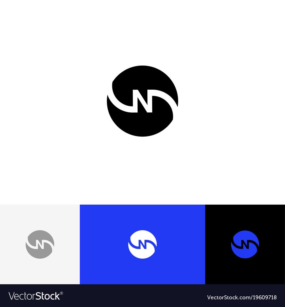 N in circle minimalism logo letters n.