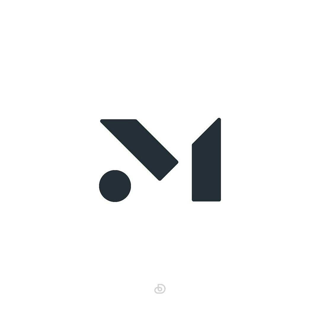 M monogram bold, modern and minimalistic #brandmark #Logo.