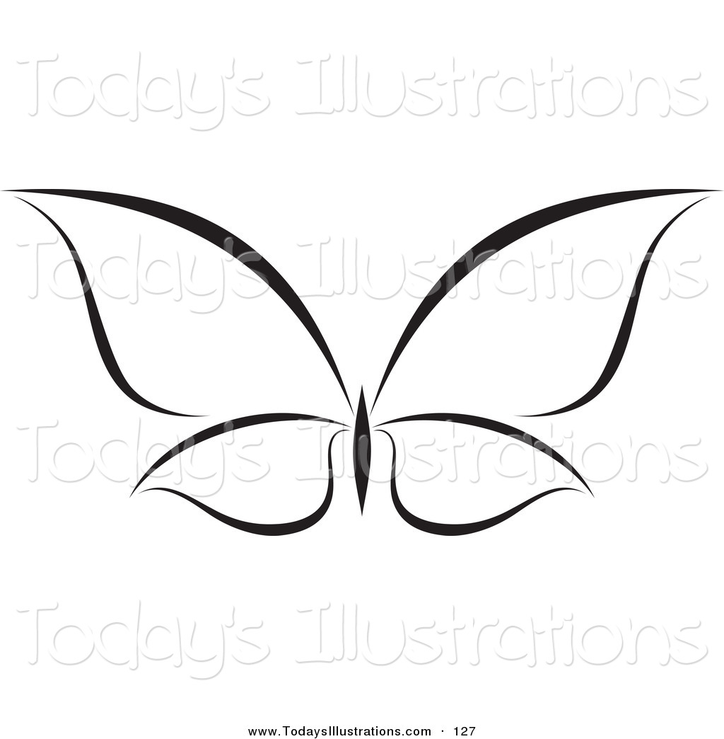 Clipart of a Minimalist Black and White Butterfly Logo by.