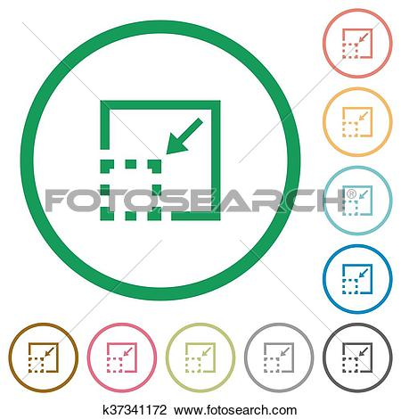 Clipart of Minimize element outlined flat icons k37341172.