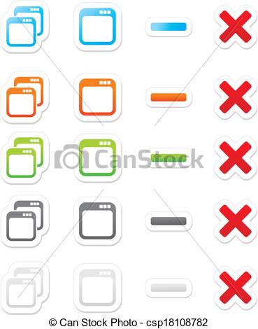 Vector of maximize minimize sticker buttons.