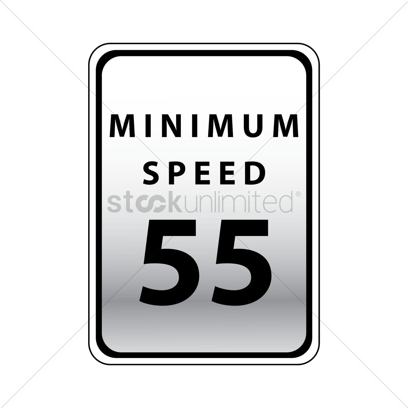 Minimum speed 55 road sign Vector Image.