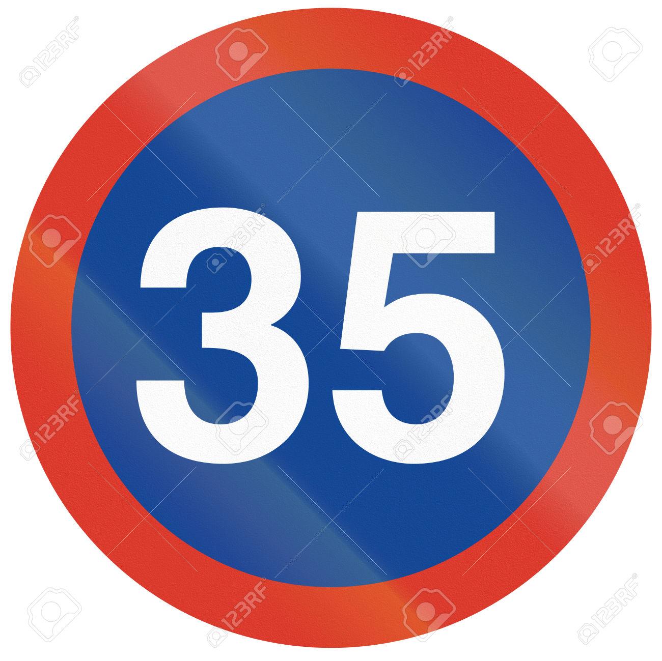 Argeninian Traffic Sign: Minimum Speed Of 35 Kilometers Per Hour.