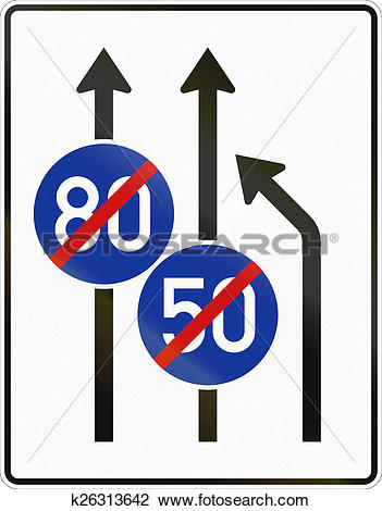 Clip Art of Three Lanes With Minimum Speed Ending k26313642.
