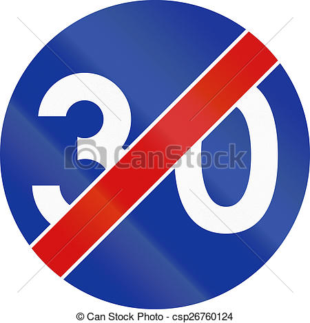 Clip Art of End Of Minimum Speed 30 in Poland.