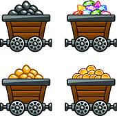 Clipart of Mine cart with Diamonds k21652281.