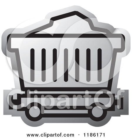 Clipart of a Green Mining Cart Icon.