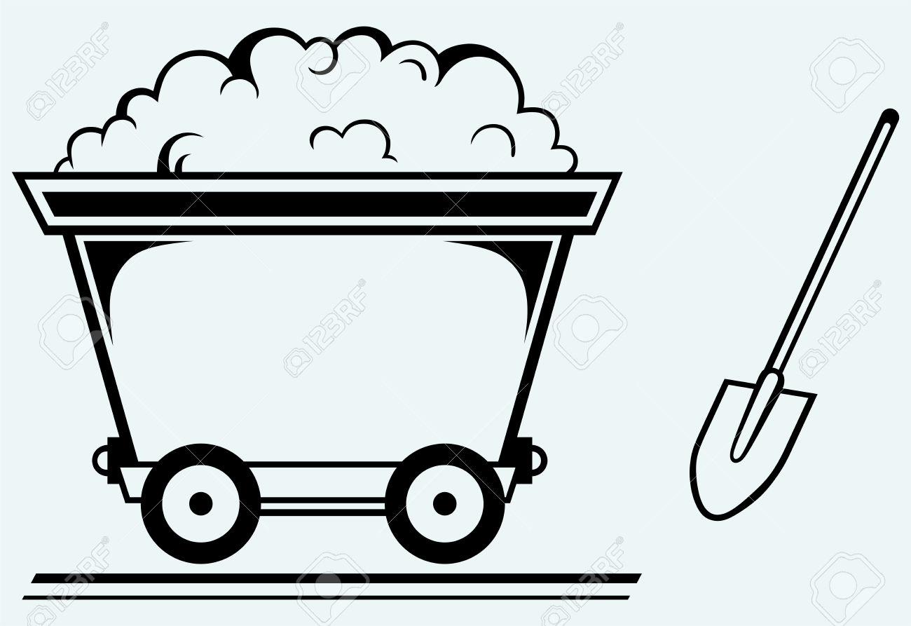 Mining Cart Isolated On Blue Background Royalty Free Cliparts.