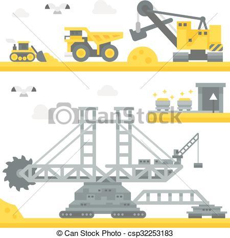 Vector of Flat design mining site equipment illustration vector.