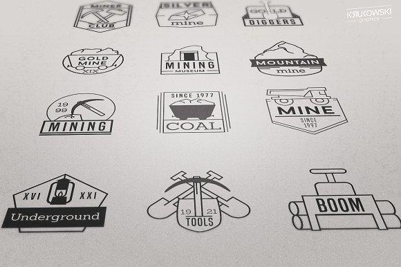 Mining Logo Vector Badges Set.