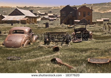 View Of Bodie From Wrecked Vehicles. Bodie, California, Is A Ghost.