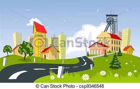 Vector of Mining town csp9346548.