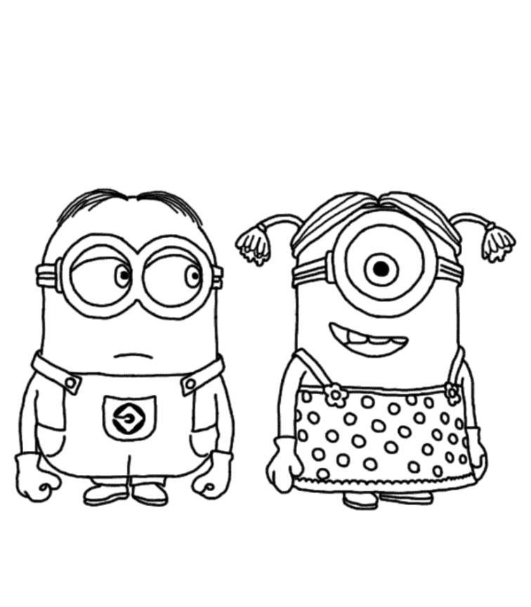 Download and Print Minion Couple Despicable Me Coloring Pages.