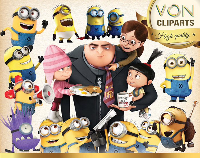 32 Minion Clipart PNG Disney Despicable Me Digital Graphic Image.